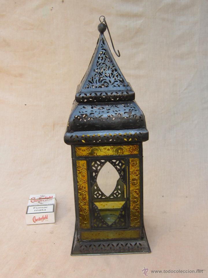 Antigüedades: LAMPARA FAROL DE VELA EN METAL Y CRISTALES - Foto 2 - 54662943
