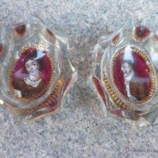 Antiquités: PAREJA DE ESPECIEROS DE CRISTAL DE LA GRANJA S XVIII. Lote 39473018