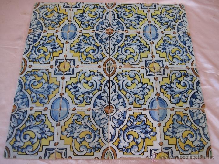 Panel de 16 azulejos antiguos de talavera cera comprar for Azulejos clasicos