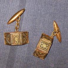 Antigüedades: ANTIGUEDADES MODA COMPLEMENTOS - PAREJA DE GEMELOS ORO VIEJO. Lote 39405692