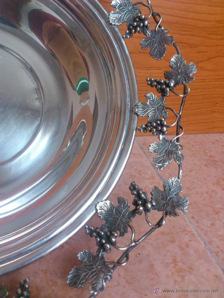 Antigüedades: Centro de mesa antiguo en plata de ley contrastada, hecho a mano con motivos vinícolas, 470 GRAMOS - Foto 5 - 39422865