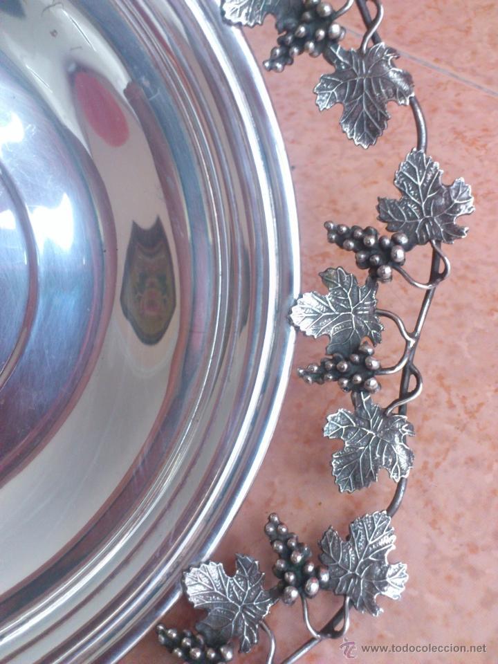 Antigüedades: Centro de mesa antiguo en plata de ley contrastada, hecho a mano con motivos vinícolas, 470 GRAMOS - Foto 16 - 39422865