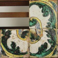 Antiquités: 13- COMPOPSICION DE 3 AZULEJOS EN CERAMICA POLICROMADA EN VERDE Y AMARILLO S. XVIII.. Lote 39430500