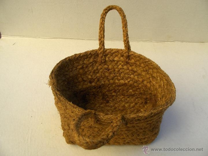Antigüedades: bolso de esparto machacado antiguo largo 28 alto 18 - Foto 2 - 39451767
