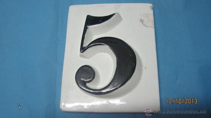 Azulejo baldosin antiguo numero 5 esmaltado en comprar for Azulejo numero casa