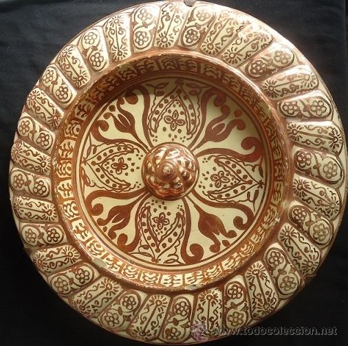 Antigüedades: ANTIGUO PLATO TETÓN DE REFLEJOS DE MANISES DIÁMETRO DE 28,5 cm - Foto 4 - 39325595