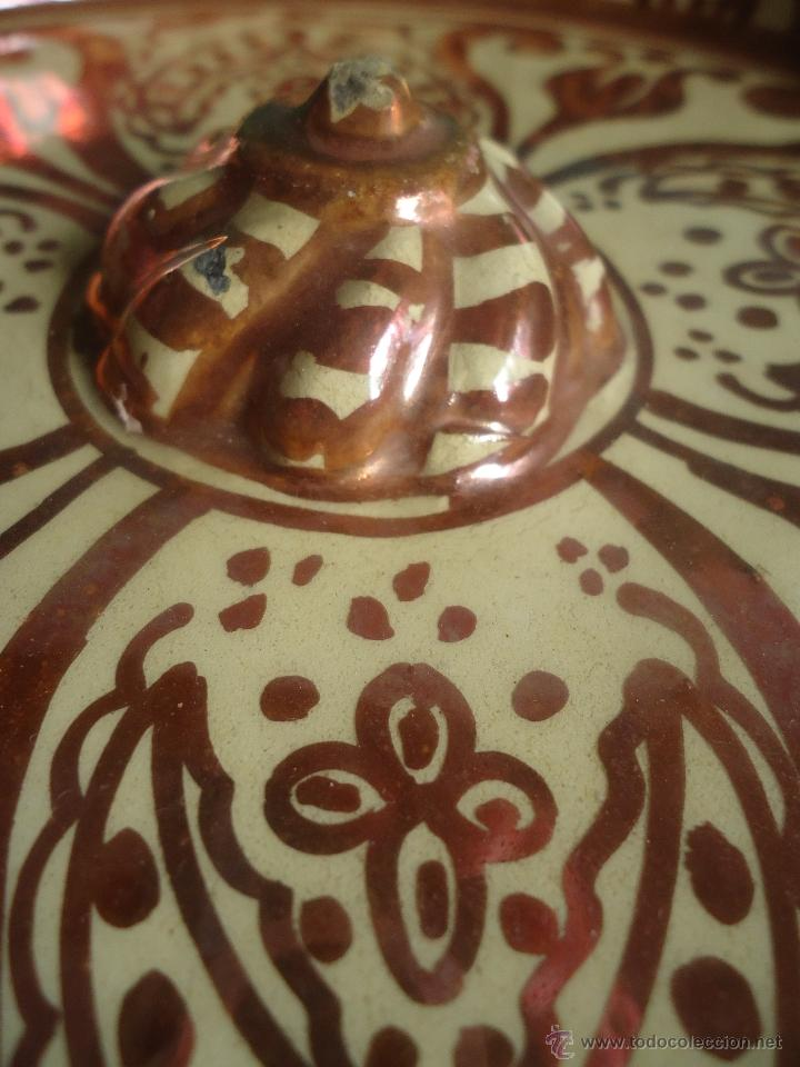 Antigüedades: ANTIGUO PLATO TETÓN DE REFLEJOS DE MANISES DIÁMETRO DE 28,5 cm - Foto 10 - 39325595