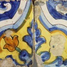 Antigüedades: 19- PAREJA DE AZULEJOS EN CERAMICA POLICROMADA S. XVIII. . Lote 39467749