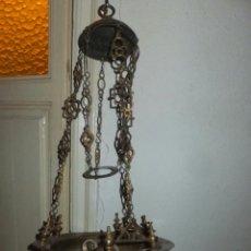Antigüedades: LAMPARA VOTIVA ELECTRIFICADA EN COBRE CON CADENAS Y PINJANTES S, XVIII-XIX . Lote 39481883
