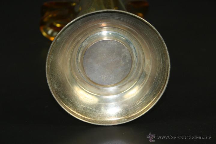 Antigüedades: CENTRO DE SOBREMESA EN CRISTAL DE MURANO AMARILLO CON BASE DE PLATA - AÑOS 50 - Foto 7 - 39472588