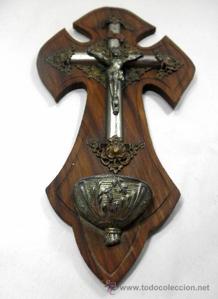 Antigüedades: CRUZ BENDITERA CON CRUCIFIJO * MADERA Y METAL - Foto 2 - 39491295