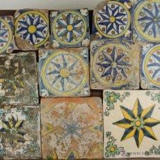 Antigüedades: 37- COMPOSICION DE AZULEJOS DE LA ESTRELLA DELOS VIENTOS. CERAMICA POLICROMADA S. XVII-XVIII.. Lote 39483006