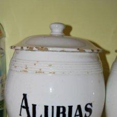 Antigüedades: ANTIGUO BOTE DE COCINA - LOZA - AÑOS 30-40 - ALUBIAS - MANISES. Lote 39485333
