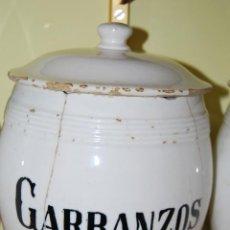 Antigüedades: ANTIGUO BOTE DE COCINA - LOZA - AÑOS 30-40 - GARBANZOS - MANISES. Lote 39485430