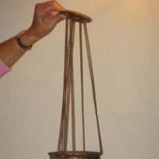 Antigüedades: FANTÁSTICA LAMPARA SUBE Y BAJA EN CRISTAL ROSA SIGLO XIX. Lote 39496874