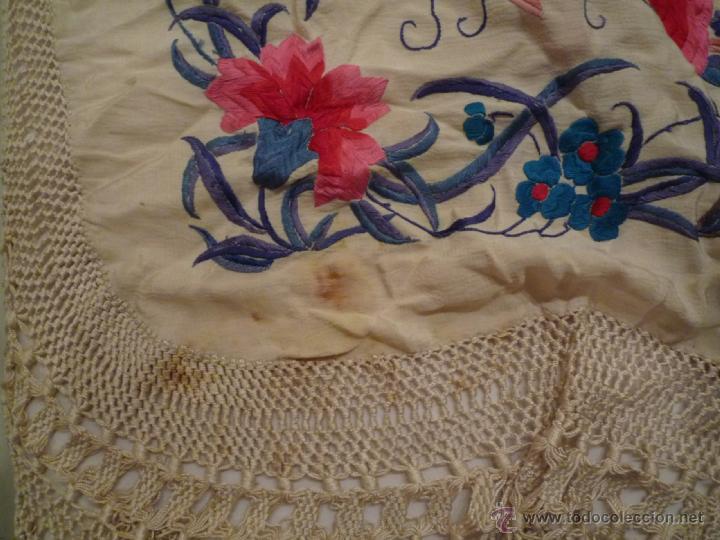 Antigüedades: Magnifico manton de Manila Bordado a mano antiguo - Foto 6 - 39496186