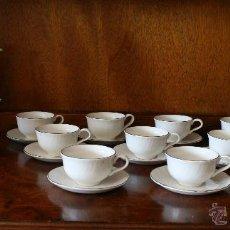 Antigüedades: JUEGO CAFÉ PORCELANA FIRMA PONTESA 12 COMENSALES - CAFETERA LECHERA AZUCARERO, TAZAS Y PLATOS. Lote 50151179