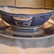 Antigüedades: ANTIGUA SALSERA PORCELANA ,DÉCOR LAFAYETTE,SARREGUEMINES.FRANCE. Lote 39511672
