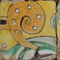 Antigüedades: 69- COMPOSICION DE 3 AZULEJOS EN CERAMICA POLICROMADA. S-XVIII.. Lote 39514796