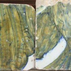Antigüedades: 78- PAREJA DE AZULEJOS EN CERAMICA POLICROMADA. S. XVII-XVIII.. Lote 39515387