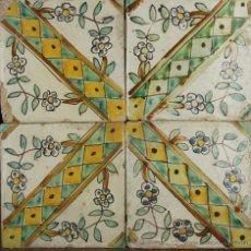Antigüedades: 89- COMPOSICION DE 4 AZUELJOS EN CERAMICA POLICROMADA S. XVIII. . Lote 39516146