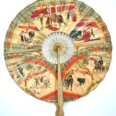 Antigüedades: ENORME Y ESPECTACULAR ABANICO COCARDA - PAY PAY CON MOTIVOS TAURINOS - S. XIX - XX. Lote 39524788