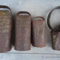 Antigüedades: CENCERRO .- LOTE DE 4 CENCERROS. Lote 39528765
