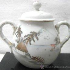 Antigüedades: ANTIGUO AZUCARERO PORCELANA CHINA ORIENTAL CON TAPA - ASAS BAMBU - SELLO MARCA. Lote 39529191