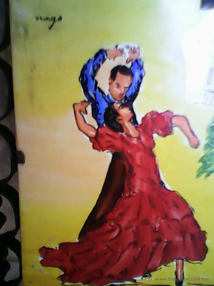 ANTIGUO Y PRECIOSO AZULEJO,ENMARCADO EN FORJA TODO TRABAJADO,BAILARINES FLAMENCOS,ONDA SPAIN,FIRMADO (Antigüedades - Porcelanas y Cerámicas - Azulejos)