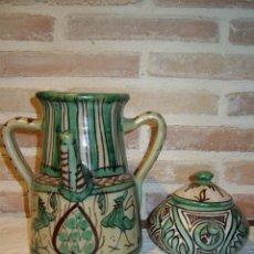 Antigüedades: JARRON O BOTIJO Y TETERA DE CERAMICAS DE TERUEL. FIRMADO PUNTER. Lote 39541993