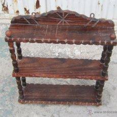 Antigüedades: ESTANTERIA DE PARED EN MADERA. Lote 39561643