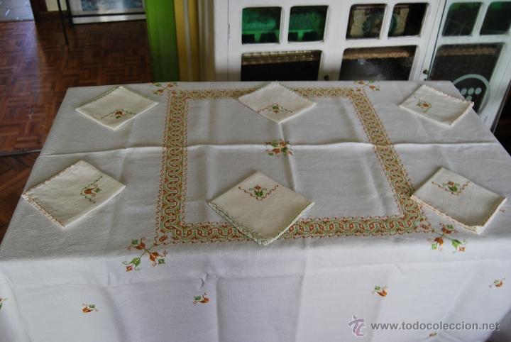 Manteler a de lino bordado a mano 6 servicios comprar - Manteles de lino ...