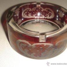 Antigüedades: CENICERO DE CRISTAL BOHEMIA TALLADO ROJO RUBÍ. Lote 39565171