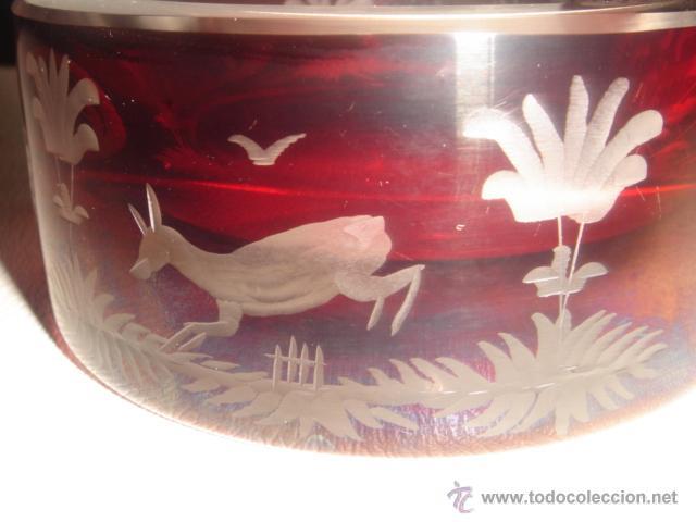Antigüedades: CENICERO DE CRISTAL BOHEMIA TALLADO ROJO RUBÍ - Foto 6 - 39565171