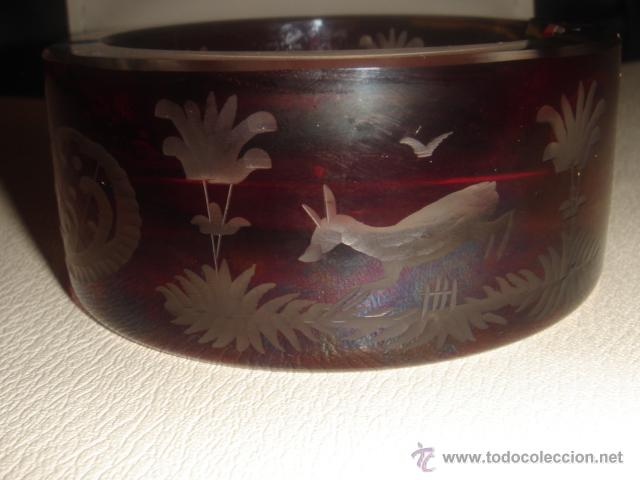 Antigüedades: CENICERO DE CRISTAL BOHEMIA TALLADO ROJO RUBÍ - Foto 8 - 39565171