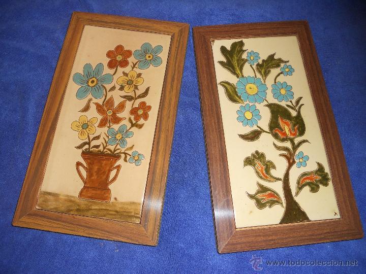 antigua pareja de mosaicos con flores en marca - Comprar Azulejos ...
