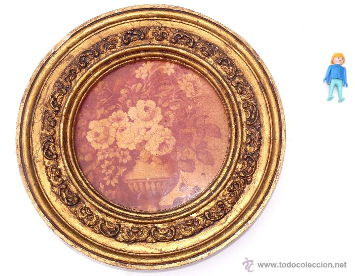 Marco antiguo redondo dorado madera ideal espe comprar for Espejo redondo marco madera