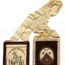 Antigüedades: ANTIGUO ESCAPULARIO VIRGEN DEL CARMEN 9 X 6 CM. Lote 39584009
