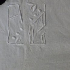 Antigüedades: ANTIGUA SÁBANA DE LINO CON COSTURA CENTRAL INICIALES A.C. S. XIX. Lote 127750339