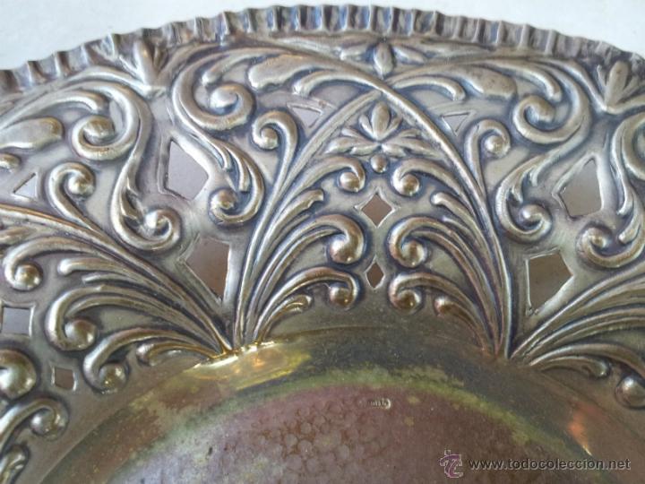 Antigüedades: Antiguo centro de mesa en metal plateado - Foto 3 - 43798850