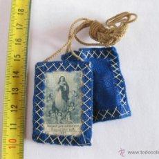 Antigüedades: ESCAPULARIO DE LA INMACULADA CONCEPCIÓN. SEDA Y LANA.. Lote 39706502