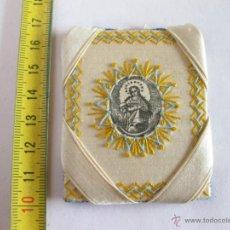 Antigüedades: ESCAPULARIO BORDADO EN SEDA.. Lote 39708502