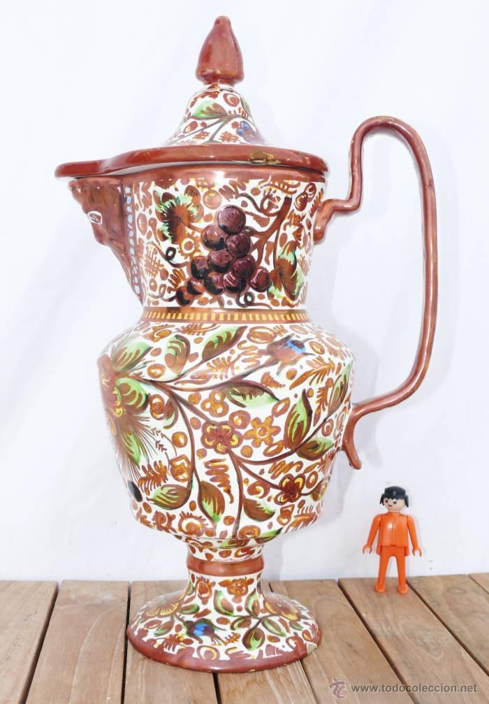 P JARRA MORISCA CERAMICA MANISES VICENTE GIMENO DE JOSE GIMENO MARTINEZ REFLEJOS METALICOS (Antigüedades - Porcelanas y Cerámicas - Manises)