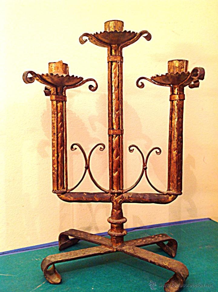 Antigüedades: Candelabro De Iglesia Altar - Foto 2 - 39652755