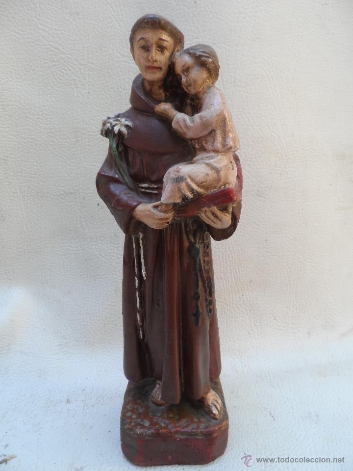 SAN ANTONIO DE PADUA CON NIÑO FIGURA DE ESTUCO O YESO PINTADO MIDE UNOS 27CM APROX (Antigüedades - Religiosas - Varios)