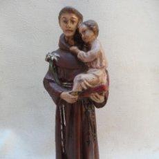 Antigüedades: SAN ANTONIO DE PADUA CON NIÑO FIGURA DE ESTUCO O YESO PINTADO MIDE UNOS 27CM APROX. Lote 39662721