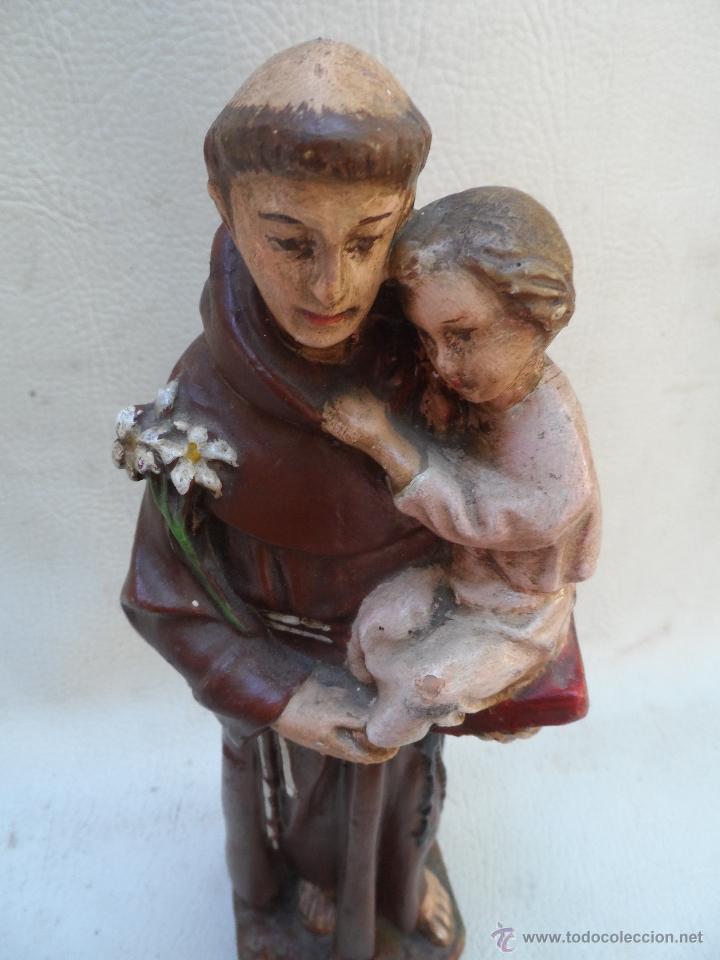 Antigüedades: san antonio de padua con niño figura de estuco o yeso pintado mide unos 27cm aprox - Foto 2 - 39662721