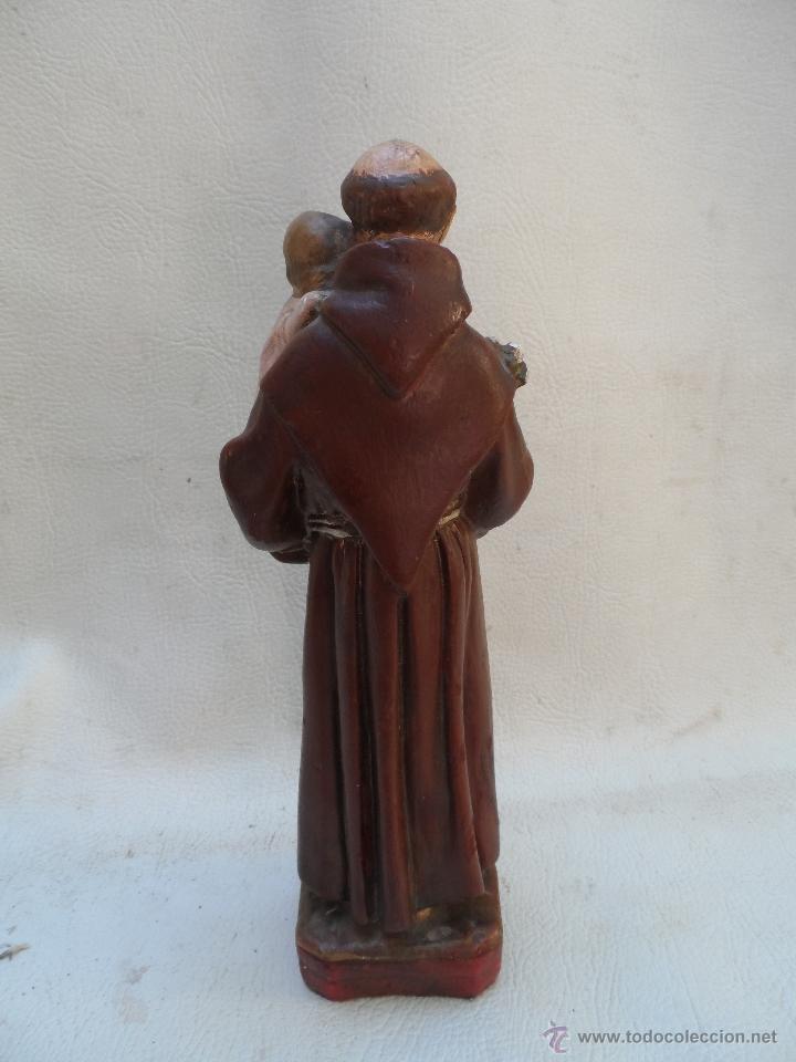 Antigüedades: san antonio de padua con niño figura de estuco o yeso pintado mide unos 27cm aprox - Foto 4 - 39662721