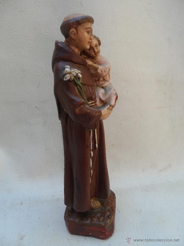 Antigüedades: san antonio de padua con niño figura de estuco o yeso pintado mide unos 27cm aprox - Foto 5 - 39662721