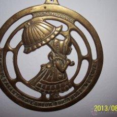 Antigüedades: PRECIOSO JAEZ DE CABALLERIA, SIGLO XIX EN LATON MACIZO CON LEYENDA.. Lote 39666542